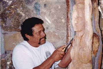 Santero Benjamin Cruz in his New Mexico studio